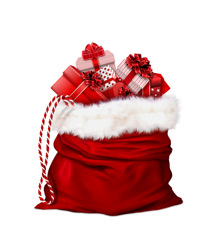 santa claus, gifts, red
